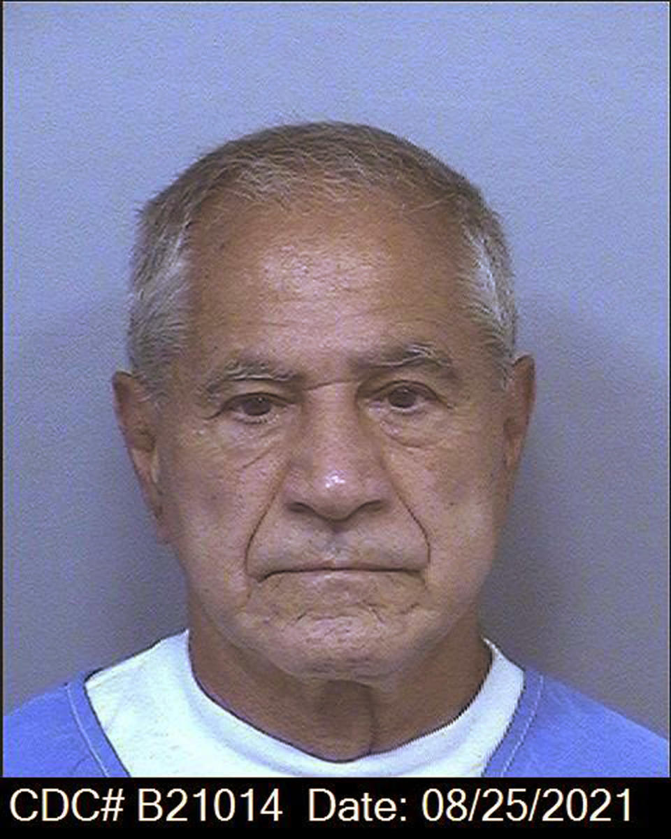 This image dated Aug. 25, 2021, and provided by the California Department of Corrections and Rehabilitation shows Sirhan Sirhan. The Los Angeles District Attorney's office is not opposing the release of Sirhan Sirhan, who is now 77 and faces his 16th parole hearing on Friday, Aug. 27, 2021, for fatally shooting Robert F. Kennedy in 1968. His defense attorney says he should be let go because of his age and his not a danger to society. (California Department of Corrections and Rehabilitation via AP)