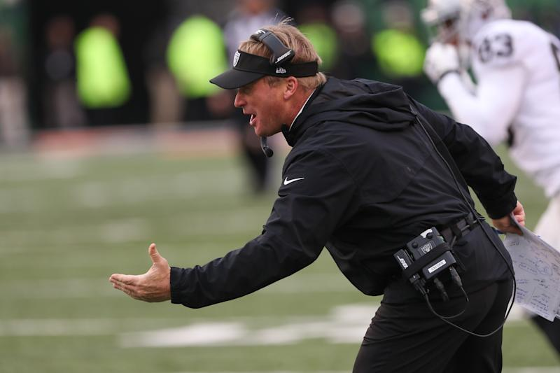 Jon Gruden and the Oakland Raiders don't appear to be a top draw in Winnipeg. (Getty Images)
