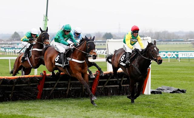 Horse Racing - Grand National Festival - Aintree Racecourse, Liverpool, Britain - April 12, 2018 L'Ami Serge ridden by Daryl Jacob before going on to win the 15:25 Betway Aintree Hurdle Action Images via Reuters/Jason Cairnduff