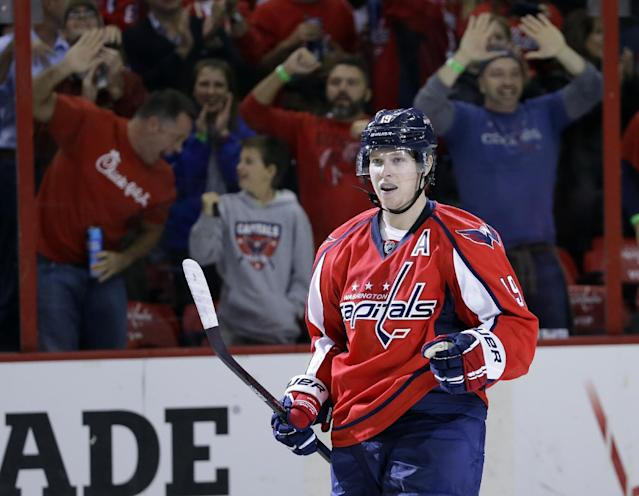 Washington Capitals center Nicklas Backstrom, from Sweden, celebrates his goal in the shootout of an NHL hockey game against the Florida Panthers, Saturday, Nov. 2, 2013, in Washington. The Capitals won 3-2. (AP Photo/Alex Brandon)