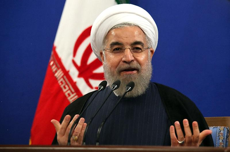 Iranian President Hassan Rouhani delivers a speech during a press conference in the capital Tehran on August 29, 2015