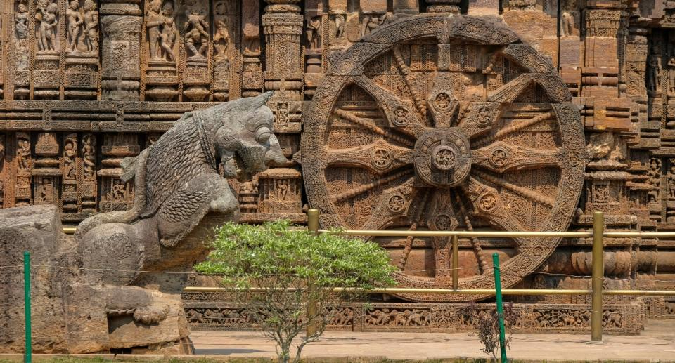 Carving details of a wheel at Konark Sun Temple, Odisha.  Photo: Getty Images