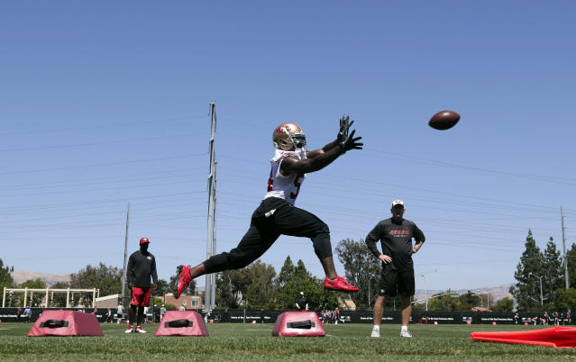 San Francisco 49ers outside linebacker Nick Moody makes a catch during an NFL football training camp on Friday, July 25, 2014, in Santa Clara, Calif. (AP Photo)