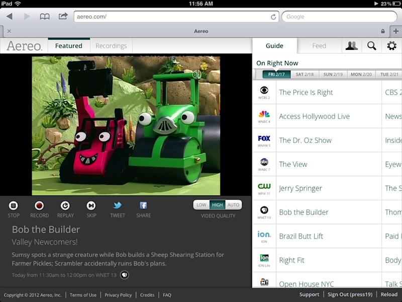 This image provided by Aereo shows a screenshot from the iPad showing Aereo.com streaming ìBob the Builderî on New Yorkís PBS station, WNET 13. The service launched this week in New York, giving access to live TV from local stations on the iPad, iPhone and iPod touch. (AP Photo/Aereo)