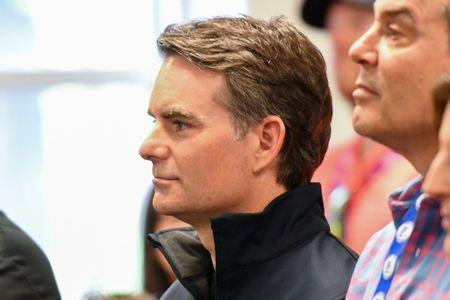Apr 5, 2019; Bristol, TN, USA; Jeff Gordon listens to NASCAR hall of famer Darrell Waltrip speak during a press conference after practice for the Food City 500 at Bristol Motor Speedway. Mandatory Credit: Randy Sartin-USA TODAY Sports