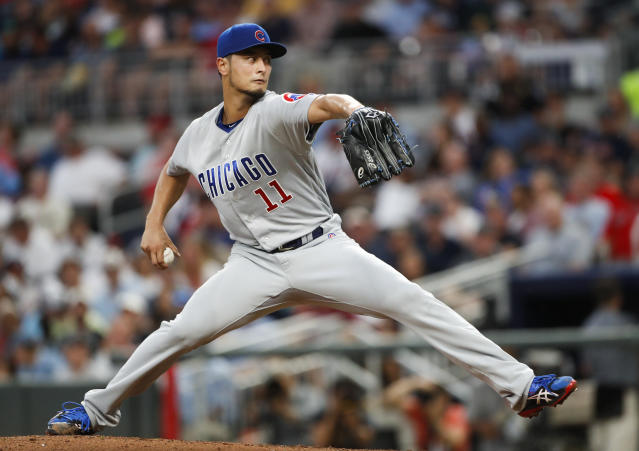 Chicago Cubs starting pitcher Yu Darvish (11) works in the third inning of a baseball game against the Atlanta Braves Tuesday, May 15, 2018, in Atlanta. (AP Photo/John Bazemore)