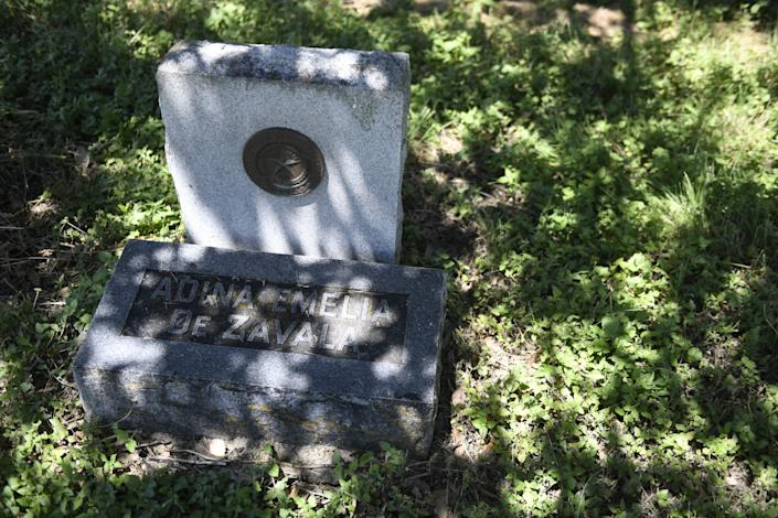 Adina de Zavala's grave at St. Mary's Catholic Cemetery in San Antonio, Texas, is less than a mile from The Alamo.