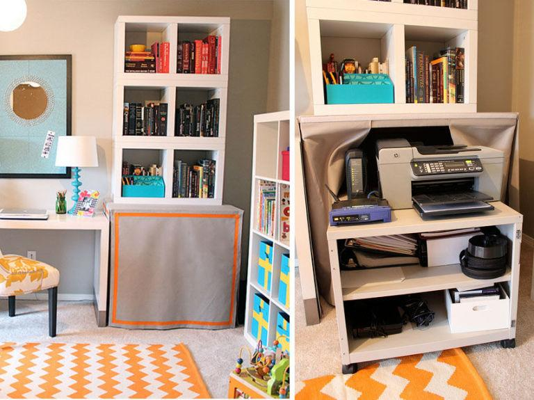 "<p>If your office storage doesn't have a door, make your own out of fabric. This one uses an orange border to complement the rug and easily gets swept away when the printer is needed.</p><p><a rel=""nofollow"" href=""http://karapaslaydesigns.com/bright-and-colorful-officeplayroom-combo/""><em>See more at Kara Paslay Designs »</em></a></p>"