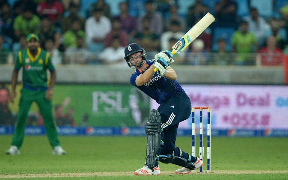 Jos Buttler of England hits out for six runs during the 4th One Day International between Pakistan and England at Dubai Cricket Stadium on November 20, 2015 in Dubai, United Arab Emirates - Getty Images Sport