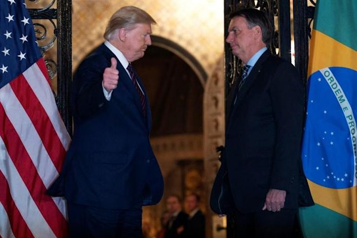 US President Donald Trump meets in March 2020 at his Florida estate with Brazilian President Jair Bolsonaro, an ideological ally