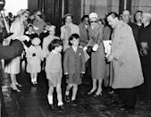 <p>Kelly organizes the children in the wedding party at rehearsals for her ceremony in 1956. </p>