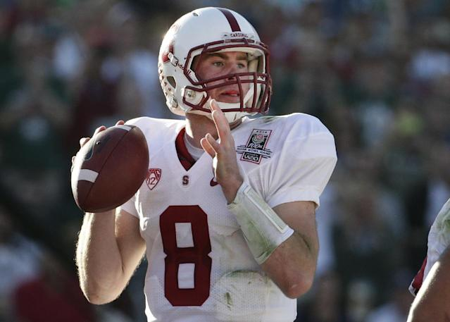 Stanford quarterback Kevin Hogan passes against Michigan State during the first half of the Rose Bowl NCAA college football game Wednesday, Jan. 1, 2014, in Pasadena, Calif. (AP Photo/Jae C. Hong)