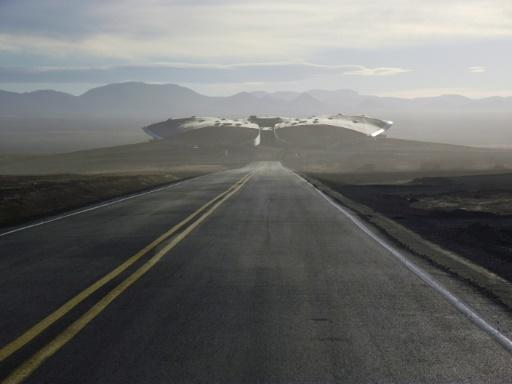 This undated Virgin Galactic and Spaceship Company handout photo obtained August 14, 2019 shows the road leading to Spaceport America in the desert near Truth or Consequences, New Mexico