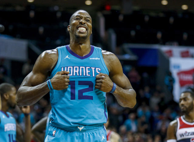 "<a class=""link rapid-noclick-resp"" href=""/nba/teams/cha/"" data-ylk=""slk:Charlotte Hornets"">Charlotte Hornets</a> center <a class=""link rapid-noclick-resp"" href=""/nba/players/3818/"" data-ylk=""slk:Dwight Howard"">Dwight Howard</a> will have to pay up for his ""obscene gesture"" against the <a class=""link rapid-noclick-resp"" href=""/nba/teams/cle/"" data-ylk=""slk:Cleveland Cavaliers"">Cleveland Cavaliers</a>. (AP Photo)"
