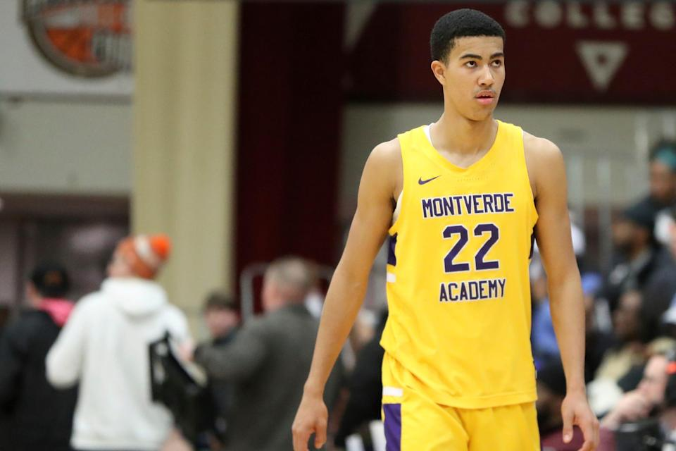 Montverde Academy's Caleb Houstan, a Michigan commit, is seen against IMG Academy during a high school basketball game at the Hoophall Classic Jan. 19, 2020, in Springfield, MA. Montverde won the game.