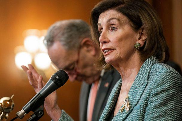 PHOTO: Democratic Speaker of the House from California Nancy Pelosi speaks at the one-year anniversary of the House passage of the For the People Act at the Capitol in Washington, March 10, 2020. (Jim Lo Scalzo/EPA via Shutterstock )