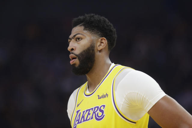 Los Angeles Lakers forward Anthony Davis against the Golden State Warriors during a preseason NBA basketball game in San Francisco, Saturday, Oct. 5, 2019. (AP Photo/Jeff Chiu)