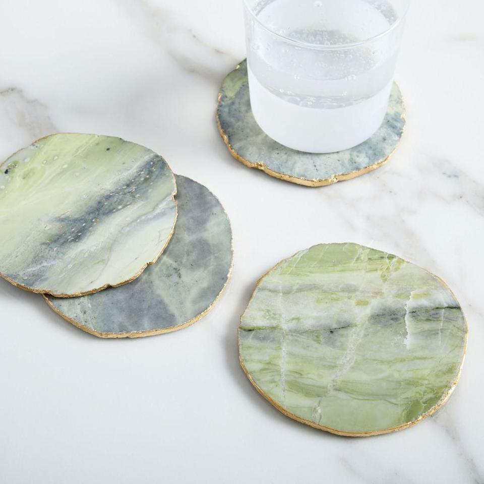 <p>These <span>Onyx Marble Coasters (Set of 4)</span> ($40) are so pretty to look at.</p>