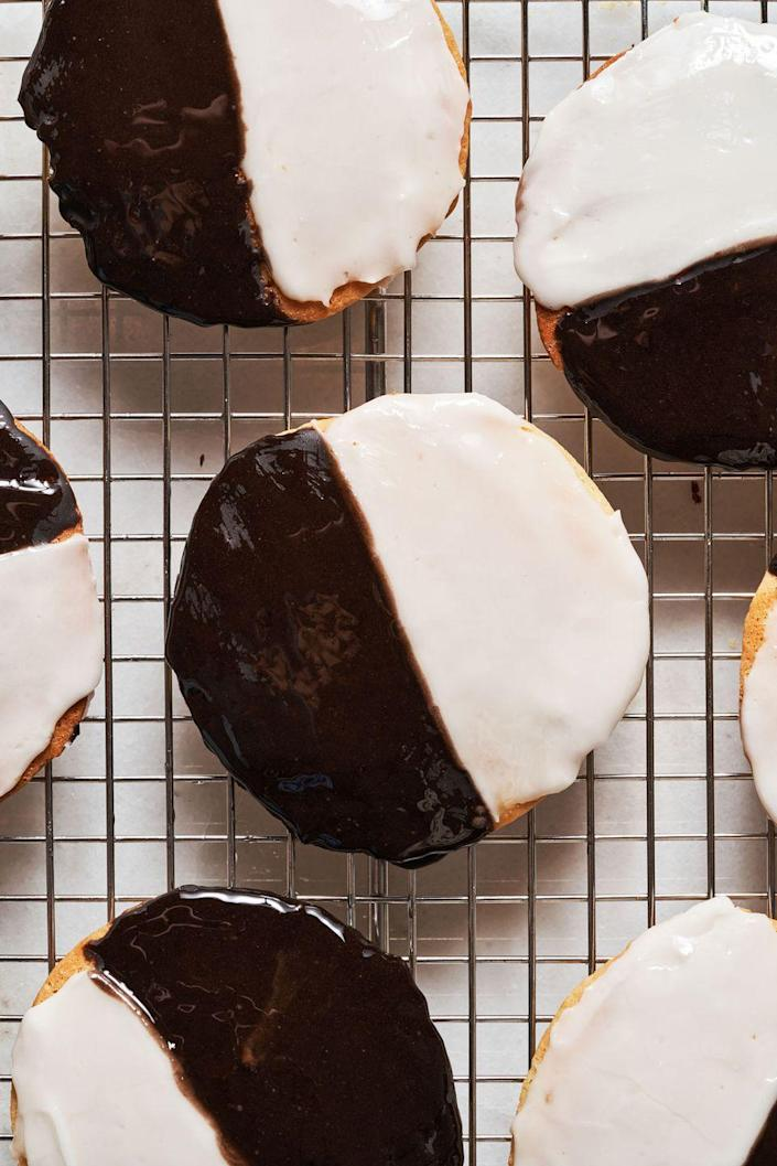 """<p>These are a Jewish deli staple and should be on everyones top 5 cookie list.</p><p>Get the recipe from <a href=""""https://www.delish.com/cooking/recipe-ideas/a32934916/black-and-white-cookies-recipes/"""" rel=""""nofollow noopener"""" target=""""_blank"""" data-ylk=""""slk:Delish"""" class=""""link rapid-noclick-resp"""">Delish</a>.</p>"""