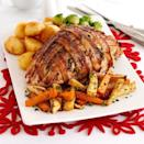 """<p>A clever choice if you've never roasted a turkey before. No bones, easy to carve, and it takes less time to cook.</p><p><strong>Recipe: <a href=""""https://www.goodhousekeeping.com/uk/food/recipes/a535658/glazed-turkey-crown/"""" rel=""""nofollow noopener"""" target=""""_blank"""" data-ylk=""""slk:Glazed turkey crown"""" class=""""link rapid-noclick-resp"""">Glazed turkey crown</a></strong></p>"""