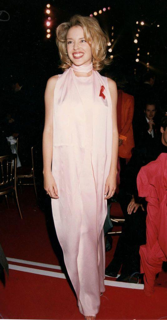 <p>The Australian singer wore a pink silk dress to the 1997 awards.</p>
