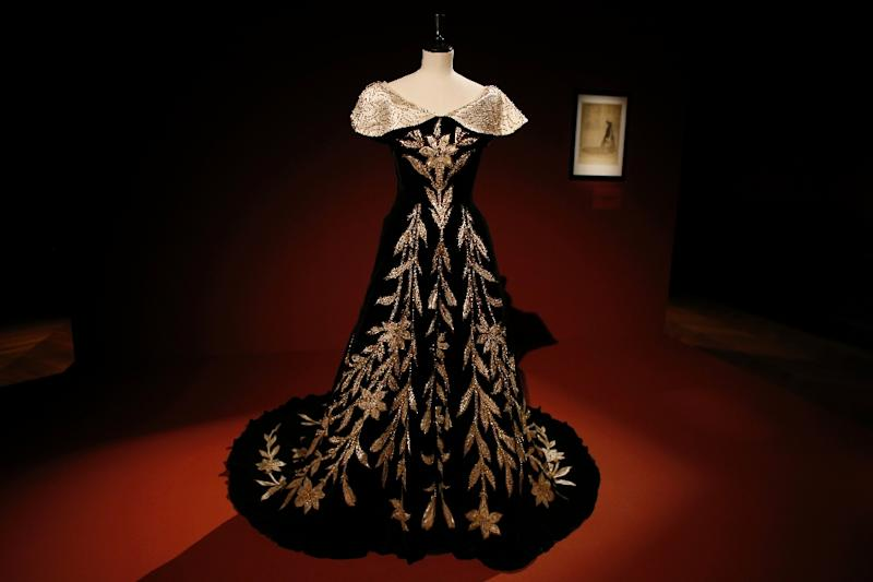 A gown is pictured during an exhibition of the wardrobe of Elisabeth, Countess Greffulhe, the 20th century's first great fashion trendsetter, at the Palais Galliera in Paris (AFP Photo/Thomas Samson)