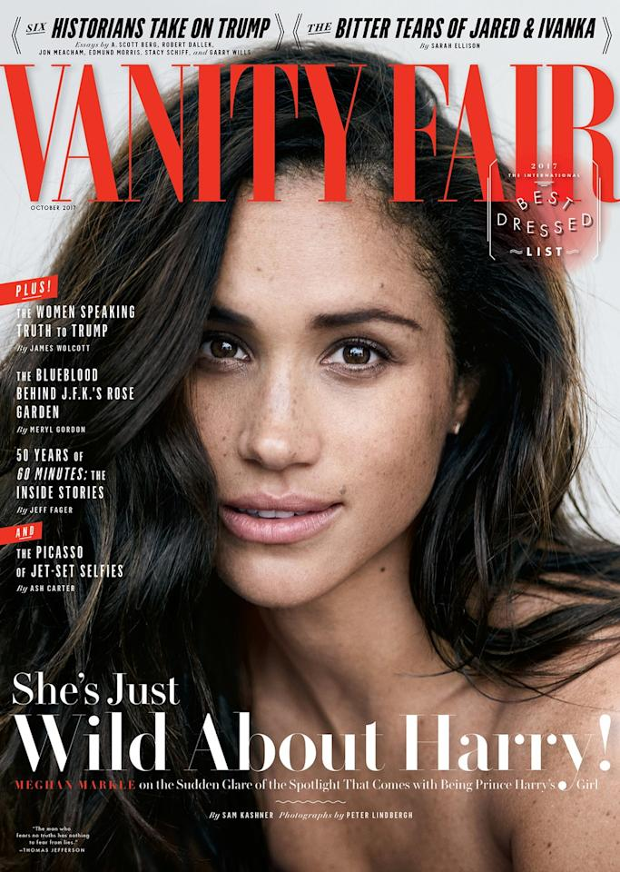 "<p>In 2017, before she tied the knot with her royal husband, the Duchess of Sussex graced the cover of her first high-profile fashion magazine, Vanity Fair.<br /><br />Markle said of her then boyfriend, Prince Harry, ""We're a couple. We're in love…Personally, I love a great love story.""<br /><br />Image via Vanity Fair. Photograph by Peter Lindbergh. </p>"