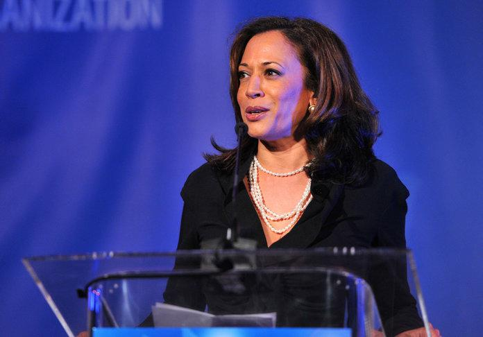 As Attorney General of California in 2012, Kamala Harris speaks onstage at a Cinema For Peace event. | Alberto E. Rodriguez/Getty Images For J/P Haitian Relief Organization and Cinema For Peace