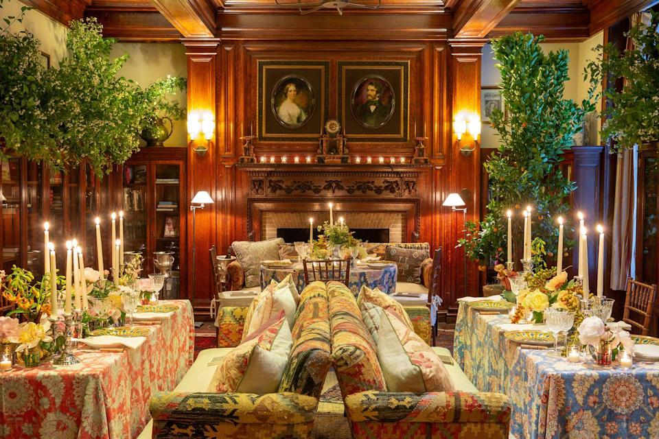 <p>Gardner says her large dining space will allow her to add some dramatic flair by utilizing citrus branches, which means guests will have to pull back branches full of ripe, aromatic fruit to find their table. Plush, heavy-patterned couches; romantic mood lighting; colorful table linens; and an array of layered floral arrangements she created herself make for a dazzling, elegant, and ultra-comfortable place to spend a memorable New Year's Eve.</p>
