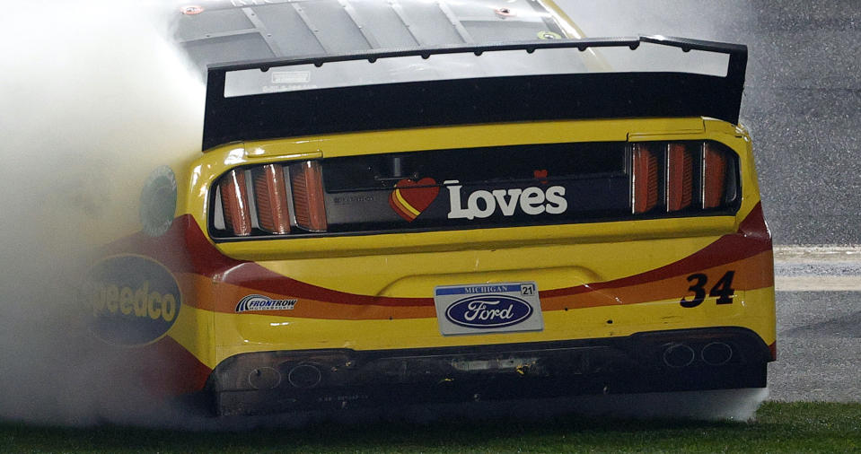 You can see the spoiler damage on the right side. (Photo by Chris Graythen/Getty Images)