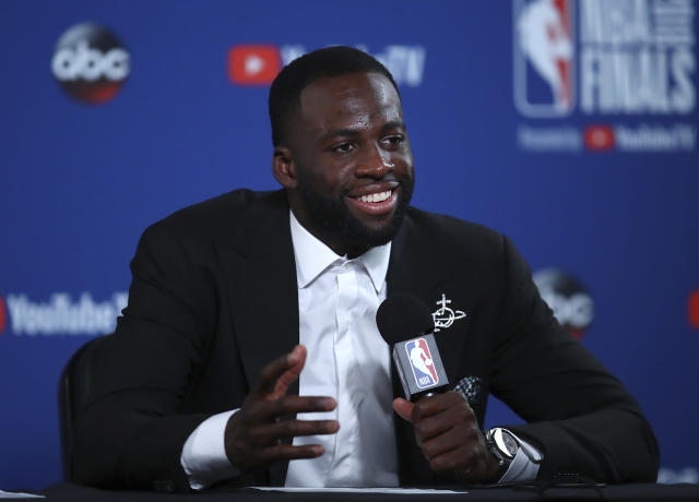 Golden State Warriors forward Draymond Green speaks at a news conference after Game 1 of basketball's NBA Finals against the Cleveland Cavaliers in Oakland, Calif., Thursday, May 31, 2018. The Warriors won 124-114 in overtime. (AP Photo/Ben Margot)