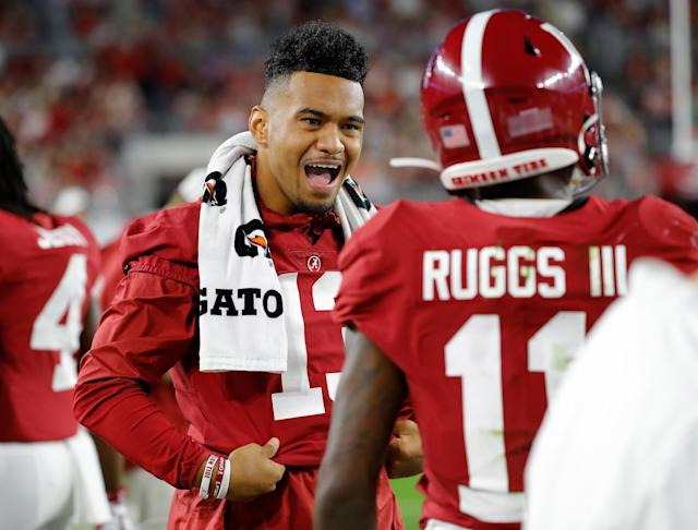 "Alabama quarterback Tua Tagovailoa went fifth overall to the Miami Dolphins, while his teammate Henry Ruggs III was the first wide receiver off the board at No. 12 to the <a class=""link rapid-noclick-resp"" href=""/nfl/teams/las-vegas/"" data-ylk=""slk:Las Vegas Raiders"">Las Vegas Raiders</a>. (Photo by Kevin C. Cox/Getty Images)"