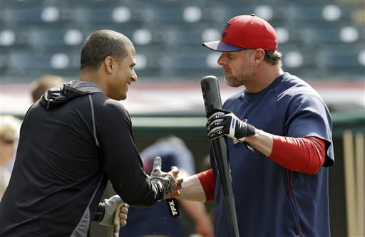 Detroit Tigers' Victor Martinez, left, visits with Cleveland Indians' Jason Giambi before a baseball game on Friday, July 5, 2013, in Cleveland. (AP Photo/Mark Duncan)