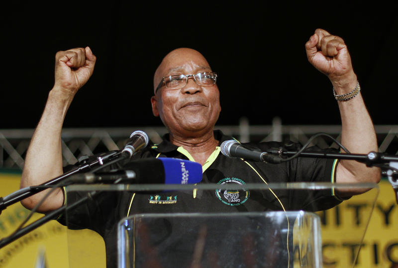 Ruling party African National Congress (ANC) and South African President Jacob Zuma sings after being reelected as the head of the nation's dominant political force, more than likely guaranteeing the politician another five years in the country's presidency, in Bloemfontein, South Africa, Tuesday, Dec. 18, 2012. Zuma trounced Deputy President Kgalema Motlanthe, his only challenger who ran a largely muted and reluctant campaign, getting 2,983 votes to Motlanthe's 991. (AP Photo/Jerome Delay)