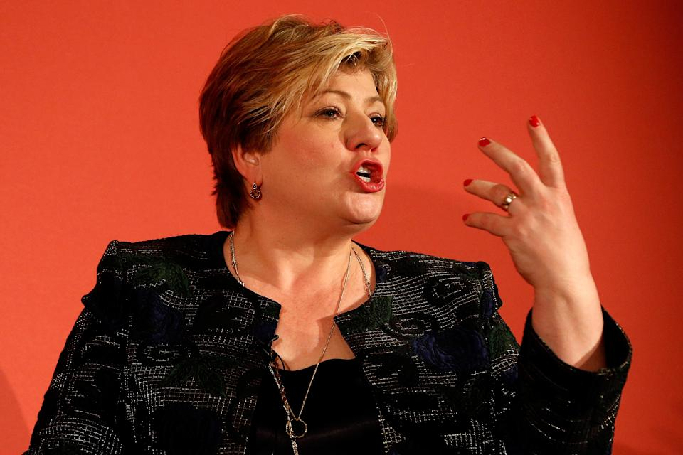 NOTTINGHAM, ENGLAND - FEBRUARY 08: Labour MP Emily Thornberry gestures as she takes part in the party leadership hustings on February 8, 2020 in Nottingham, United Kingdom. Keir Starmer, Rebecca Long-Bailey, Emily Thornberry and Lisa Nandy are vying to replace Labour leader Jeremy Corbyn, who offered to step down following his party's loss in the December 2019 general election. (Photo by Darren Staples/Getty Images)
