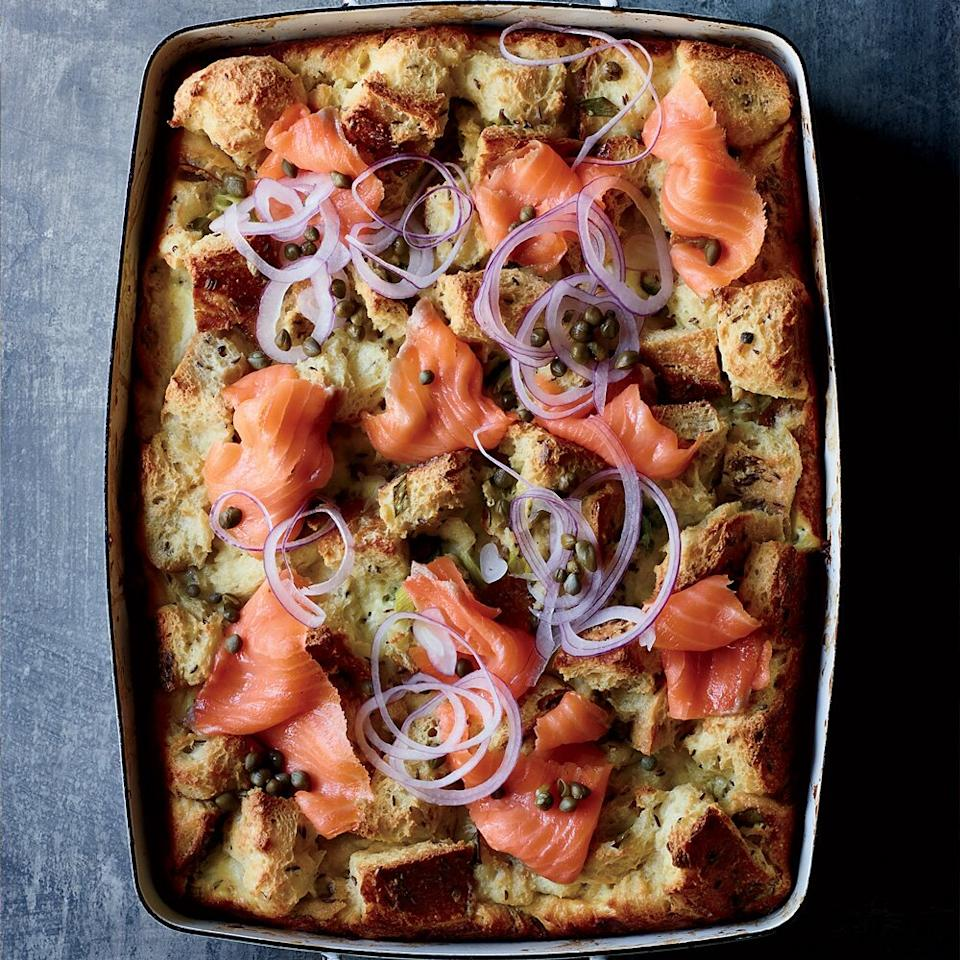 "<p>There's nothing wrong with eating breakfast for dinner, as proven by this bagel and lox-inspired strata.</p><p><a href=""https://www.foodandwine.com/recipes/rye-and-creme-fraiche-strata-smoked-salmon"">GO TO RECIPE</a></p>"
