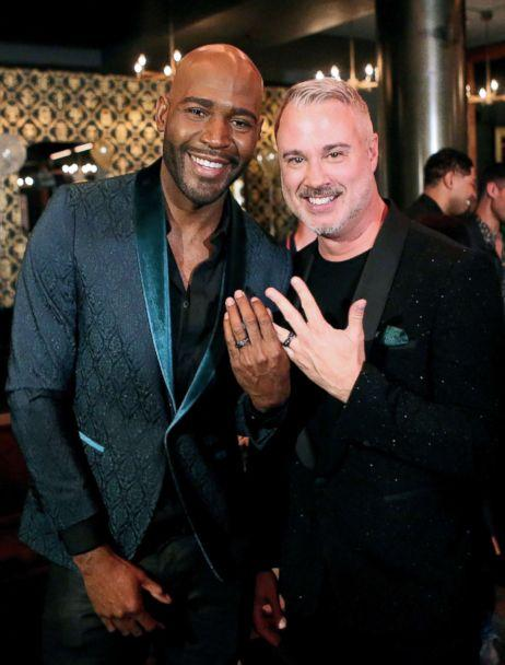 PHOTO: Karamo Brown, left, and Ian Jordan after surprise engagement at HYDE Sunset: Kitchen + Cocktails, May 9, 2018, in West Hollywood, Calif. (Tasia Wells/Getty Images)