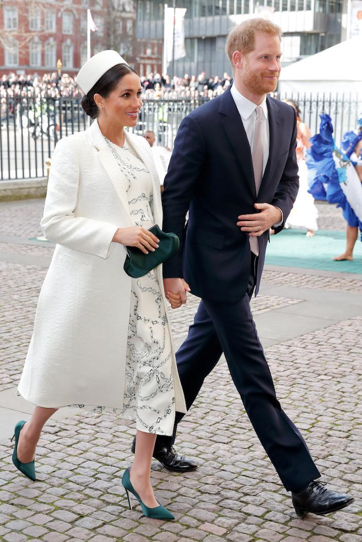 <p>For the 2019 Commonwealth Day service at Westminster Abbey, the mother-to-be dressed her bump in a Victoria Beckham dress finished with a pillbox hat. <em>[Photo: Getty]</em> </p>