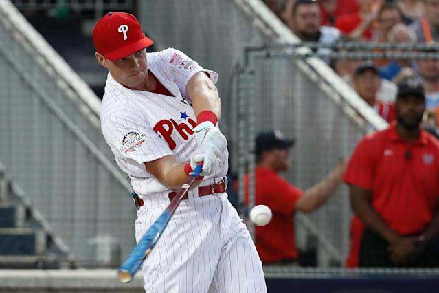 Philadelphia Phillies Rhys Hoskins (17) hits during the MLB Home Run Derby, at Nationals Park, Monday, July 16, 2018 in Washington. The 89th MLB baseball All-Star Game will be played Tuesday. (AP Photo/Alex Brandon)