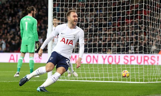 "<a class=""link rapid-noclick-resp"" href=""/soccer/players/christian-eriksen/"" data-ylk=""slk:Christian Eriksen"">Christian Eriksen</a> celebrates his goal 11 seconds into Tottenham's clash with <a class=""link rapid-noclick-resp"" href=""/soccer/teams/manchester-united/"" data-ylk=""slk:Manchester United"">Manchester United</a>. (Getty)"