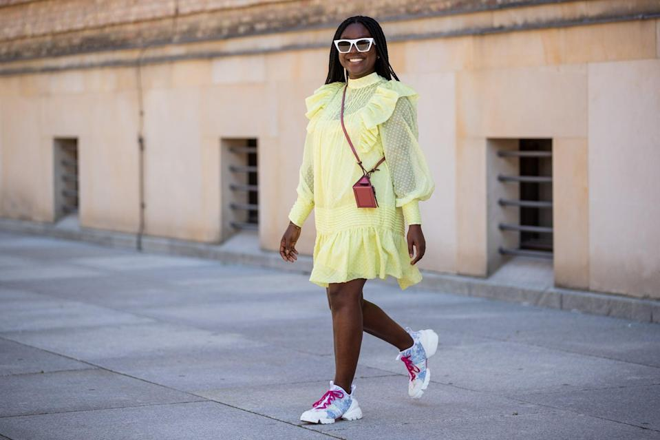 <p>Take any light-colored babydoll dress in your wardrobe and reinvent it with a sporty sneaker.</p>