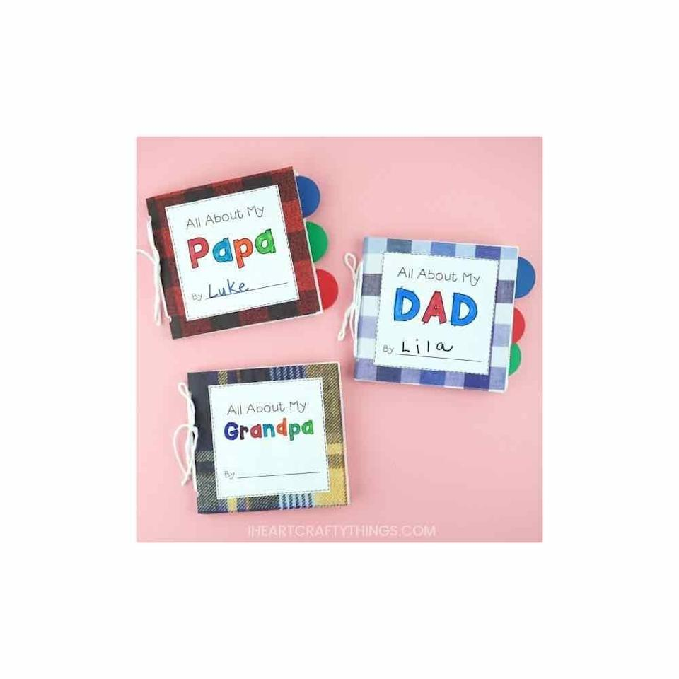"""<p>Join forces with your toddler to create a special keepsake for dad or grandpa. This printable book features fun fill-in-the-blank prompts and empty spots for special snapshots. </p><p><a href=""""https://iheartcraftythings.com/paper-bag-diy-fathers-day-book.html"""" rel=""""nofollow noopener"""" target=""""_blank"""" data-ylk=""""slk:Get the printable."""" class=""""link rapid-noclick-resp"""">Get the printable. </a></p><p><a class=""""link rapid-noclick-resp"""" href=""""https://www.amazon.com/Crayola-Colored-Pencils-Coloring-Stocking/dp/B07DLFPG6G/ref=sr_1_7?dchild=1&keywords=crayola+colored+pencils&qid=1622648836&s=toys-and-games&sr=1-7&tag=syn-yahoo-20&ascsubtag=%5Bartid%7C10072.g.27603456%5Bsrc%7Cyahoo-us"""" rel=""""nofollow noopener"""" target=""""_blank"""" data-ylk=""""slk:SHOP COLORED PENCILS"""">SHOP COLORED PENCILS</a></p>"""