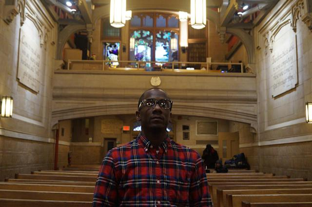 "<span class=""s1"">Edward Chavits stands in the historical Bowery Mission Chapel in Manhattan. He completed the organization's Gateway Program, which helps people experiencing homelessness adjust to a traditional work schedule, and is now in the Life Transformation Program, which helps people prepare to reenter the workforce. (Photo: Michael Walsh/Yahoo News)</span>"