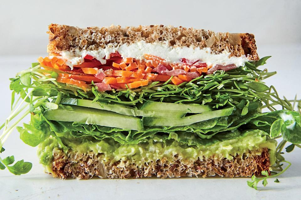 """We like sandwiches that send juices running down to our elbows, which is why we insist on dressing the lettuce. If you want to use store-bought giardiniera, skip the first step. <a href=""""https://www.epicurious.com/recipes/food/views/california-veggie-sandwich?mbid=synd_yahoo_rss"""" rel=""""nofollow noopener"""" target=""""_blank"""" data-ylk=""""slk:See recipe."""" class=""""link rapid-noclick-resp"""">See recipe.</a>"""