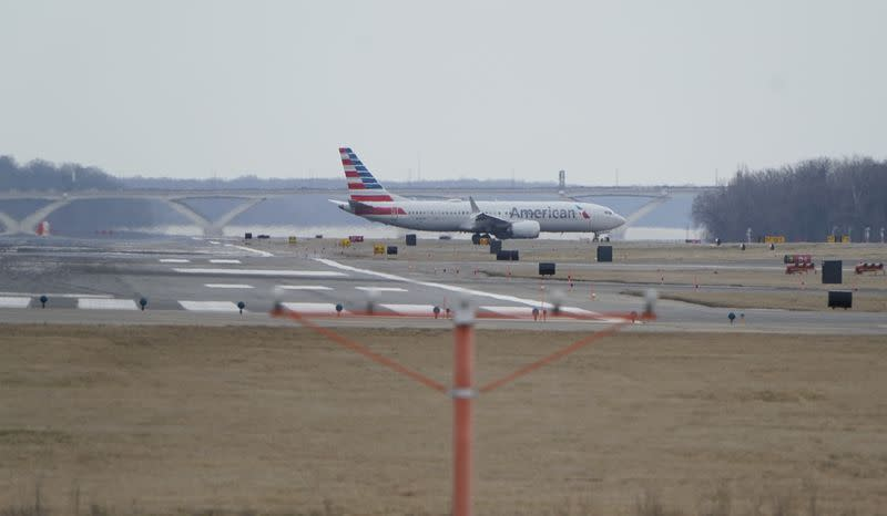 An American Airlines Boeing 737 MAX 8 flight taxis after landing at Reagan National Airport in Washington