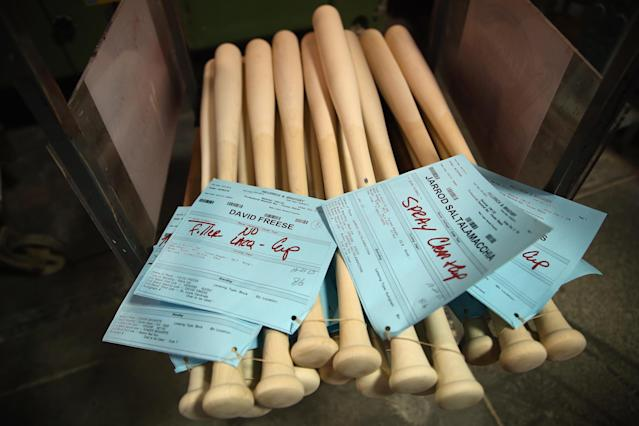 LOUISVILLE, KY - OCTOBER 21: World Series bats for both the St. Louis Cardinals and the Boston Red Sox wait to be worked on at the Louisville Slugger Museum & Factory on October 21, 2013 in Louisville, Kentucky. (Photo by Andy Lyons/Getty Images)