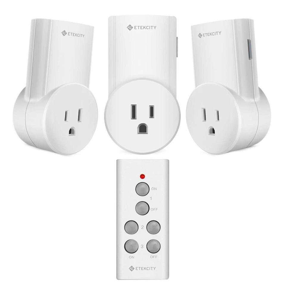 """<h3><a href=""""https://amzn.to/3bNtZoH"""" rel=""""nofollow noopener"""" target=""""_blank"""" data-ylk=""""slk:Wireless Remote Control Outlet"""" class=""""link rapid-noclick-resp"""">Wireless Remote Control Outlet</a></h3><br><strong>Katie</strong><br><br><strong>How She Discovered It:</strong> """"I was poking around online for lighting solutions."""" <br><br><strong>Why It's A Hidden Gem:</strong> """"I hate the harsh, overhead lighting in my apartment and prefer scattering lamps around. However, I am also lazy and hate getting up and leaning over furniture to reach their switches. I mounted the remote to the wall with command strips and it's basically like having a light switch for all the lamps in one place. There's also an outdoor version I use for my patio string lights so I can turn them on and off from bed.""""<br><br><strong>Etekcity</strong> Etekcity Remote Control Outlet Wireless Remote Light Sw, $, available at <a href=""""https://amzn.to/3bLcWUh"""" rel=""""nofollow noopener"""" target=""""_blank"""" data-ylk=""""slk:Amazon"""" class=""""link rapid-noclick-resp"""">Amazon</a>"""