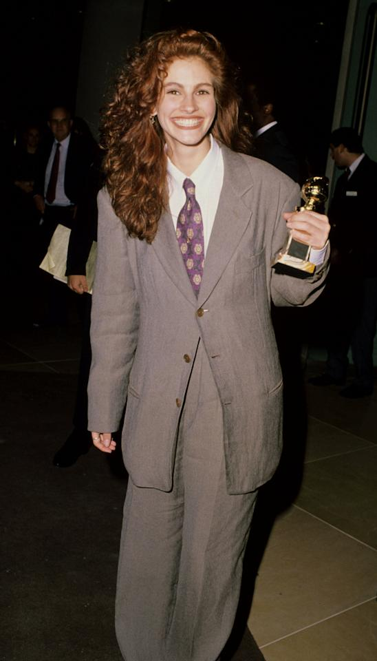 <p>Roberts with one of her best-known hair colors, red, at the 47th Annual Golden Globe Awards in 1990.</p>