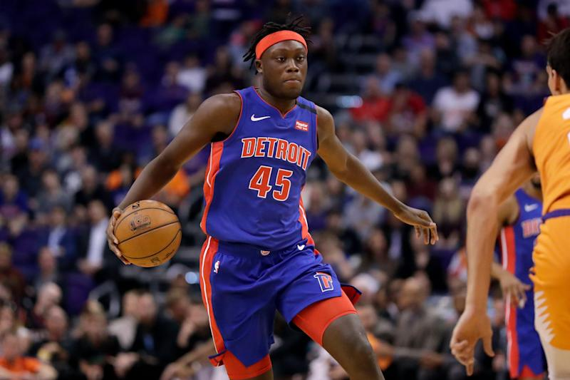 Detroit Pistons forward Sekou Doumbouya dribbles against the Phoenix Suns during the first half Friday, Feb. 28, 2020, in Phoenix.