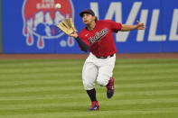 Cleveland Indians' Josh Naylor catches a ball hit by Kansas City Royals' Whit Merrifield during the fifth inning of a baseball game Tuesday, Sept. 8, 2020, in Cleveland. Merrifield was out on the play. (AP Photo/Tony Dejak)
